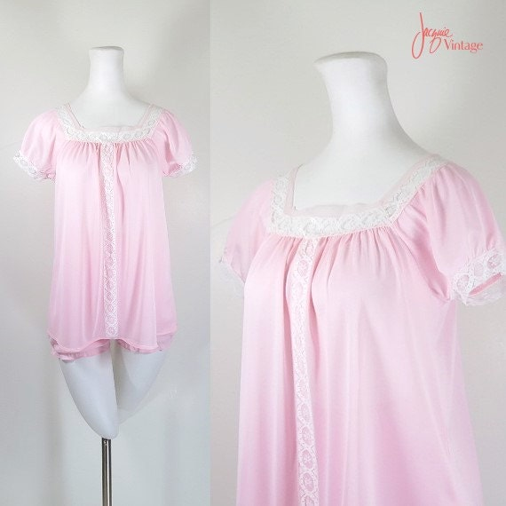 60s Babydoll Nightie With Panties Pink Baby Doll Vintage