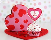Valentine's Day Mini Fake Cupcake Photo Note Holder Pink with Hearts #CUP158
