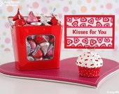 Valentines Gift - Mini Fake Cupcake Photo Note Holder Red mini heart polka dots #CUP159