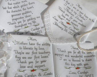Embroidered Wedding hankerchiefs Set of FOUR Personalized Hankies by Canyon Embroidery
