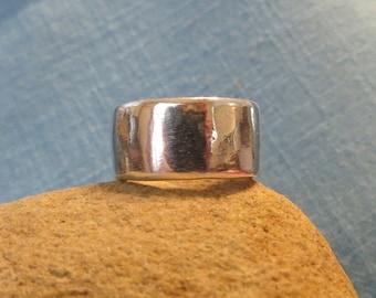 Wide Organic Wedding Ring Fine Silver 10mm Band Rustic Fused Molten  JJDLJewelryArt