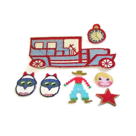 Childrens Applique, Bus Applique, Embroidered Lot, Cowboy Applique, Clock, Star, Patch, Lot of 7, Bird Applique, Red and White, Vintage