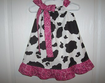 Pillowcase cow print black and white with red,hot pink and other colors  bandana ruffle and tie  infant thru 6 years
