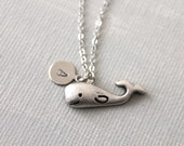 Whale Necklce. personalized initial whale necklace. friendship jewelry. everyday necklace