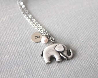 Personalized Initial Elephant Necklace. silver elephant necklace. elephant and pearl