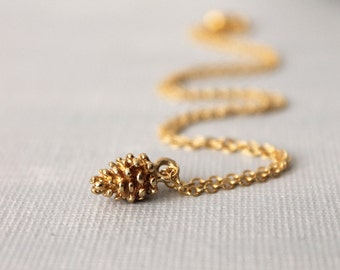 Tiny Gold Pinecone Necklace. gold plated brass pincone charm in 16K gold plated cable chain
