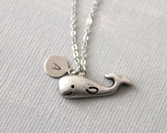Whale Necklace. personalized initial whale necklace. friendship jewelry. everyday necklace