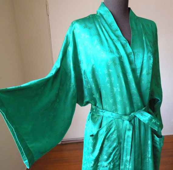 EMERALD Green Robe 100% Silk Dressing Gown Asian Kimono