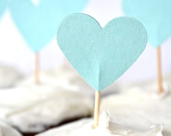 12 Aqua Blue Heart Cupcake Picks, custom colors available