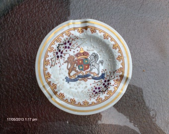 Vintage Hand Painted Ceramic Ashtray with Family Crest - Made in France