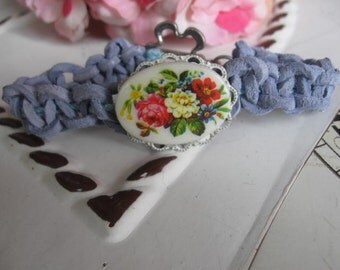 Leather and Lace Collection . vintage jewelry assemblage leather bracelet