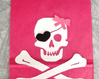 GIRL Jolly Roger Skull Crossbones Treat Sacks PIRATE Island Theme Birthday Party Favor Bags by jettabees on Etsy