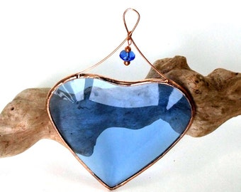 Blue Beveled Glass Heart Suncatcher Ornament with Beads and a Copper  Line