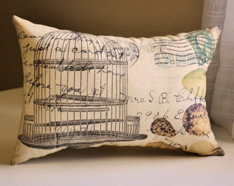 Vintage Bird Cage Pillow