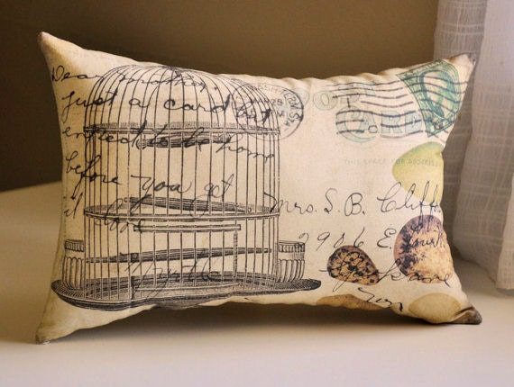 Vintage Bird Cage Pillow By Lisawinestudios On Etsy
