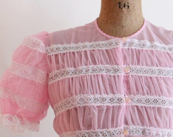 50s lingerie - 1950s sheer pink ruched peignoir robe - pin up lingerie