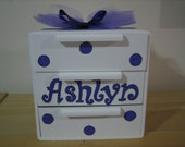 Personalized purple dragonfly, butterfly, ladybugs Jewelry Box-  Polka dots.-Flower Girl , Birthday ,Communion , Christening, Newborn Gift