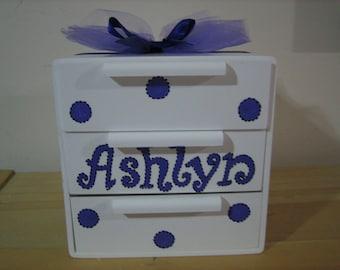 Personalized purple dragonfly, butterfly, ladybugs Jewelry Box-  Polka dots.-Flower Girl , Birthday ,Communion , Christening, Newborn Gift