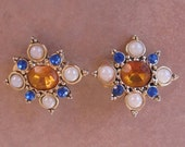 Clip earrings - topaz glass center - blue rhinestones and pearls