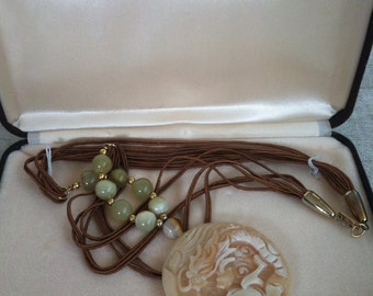 Carved Coral Pendant Vintage HOBE Necklace