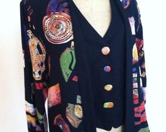 Vibrant Modern Design Vintage PLATINUM Built in Vest Jacket L