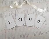 LOVE Banner Wedding Sign Love Garland Wedding Chair Banner Shabby Cottage Chic