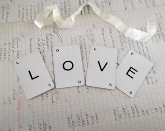 LOVE Banner Mini Love Garland Vintage Letter Cards Wedding Sign Chair Banner Boho Wedding
