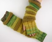 long knit fingerless gloves knit arm warmers knit fingerless mittens mohair green olive mustard curationnation - piabarile