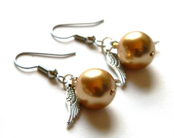Golden Snitch Earrings - Harry Potter Jewelry - Swarovski Pearl - Gold - Feathers - Wings  - Handmade - Surgical Steel - Gifts Under 10, 20