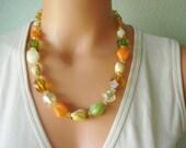 Vintage necklace in citrus, vintage west germany, vintage jewelry, spring, summer fashion