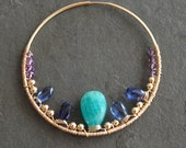 May My Love Custom Order for Patty. Amazonite Kynite Amethyst 14 kt Gold Fill Hoops
