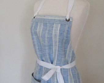 Full Apron Woman Lithuanian Linen Apron Blue White Stripes Apron kitchen cook