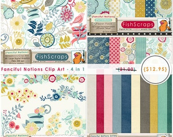 Fanciful Notions Modern Flowers Special Discount Bundle Graphics Pack, Clip Art + Digital Papers Collection, Cheerful