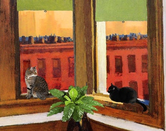 Edward Hopper Cat Art Print, Matted, Gifts For Friends, Cat Wall Art, Cat Gifts, Giclee Art Print, Deborah Julian