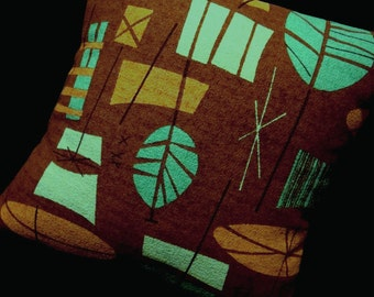 "Retro Tiki Pillow Cover - Turquoise and Brown - Premium Reproduction Barkcloth - shown with 18"" x 18"" inch insert - Many Sizes Available"