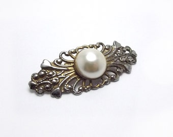 Lovely Filigree Brooch with Pearlized Cabochon, Patina