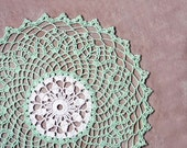 Light Mint Green Crochet Lace Doily, Fresh Colors Table Decor