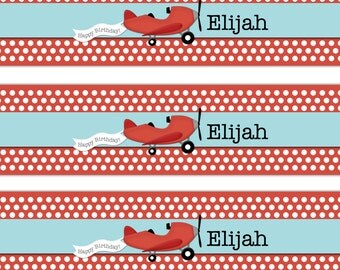 Airplane Water Bottle Label Birthday Party Digital File