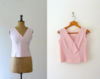 Vintage silk top. 1960s pink top. v neck tank top