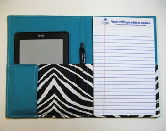 Designer Daily Organizer - Ready to Ship - Turquoise Zebra - 5x8 Notepad - Portfolio Organizer - List Taker, Fits many EReaders