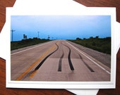 Landscape, Blank Photo Greeting Card - Tire Tracks, Morse, Iowa City, IOWA - Fine Art Photograph - Rural HIghway - Original Photograph,