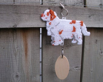 Clumber Spaniel with natural full tail dog crate tag or hang anywhere, Magnet option