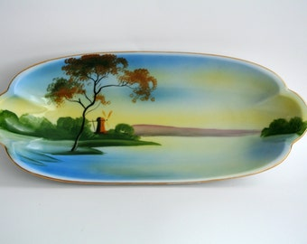 SALE-Art Deco-Noritake-Hand-Painted Porcelain Tray-Morimura