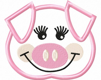 Girly Pig Head Embroidery Machine Applique Design 10669