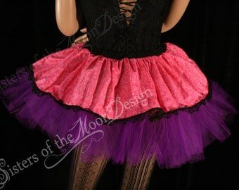 pink micro mini skirt Adult tutu topper black lace roller derby costume cosplay lolita -- You chose size -- SistersEnchanted