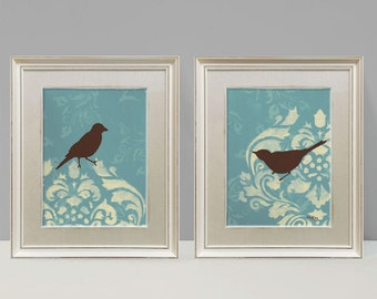 Shabby Bird Prints, French Country Wall Decor, Large Print Set, 9x12 inches Each
