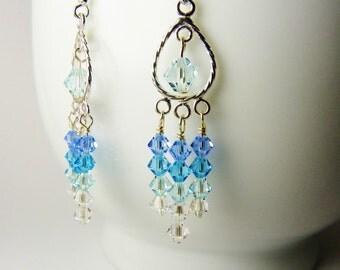 Aqua Blue Crystal Chandelier  Earrings   /  Sterling Silver / Under 15