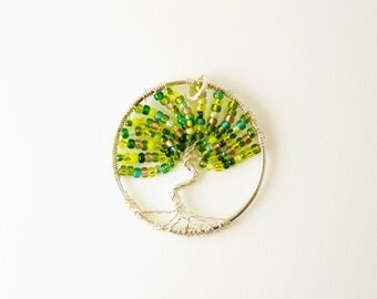 Green Tree Of Life  Pendant Necklace Silver Chain /  St Patricks Day   / Nature Lover
