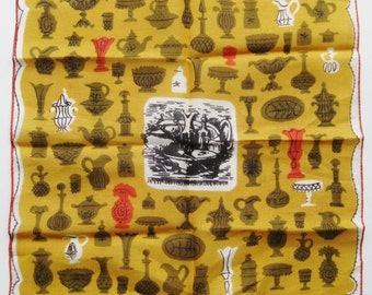 Vintage Tammis Keefe Antique Vase Novelty Print Cotton Handkerchief