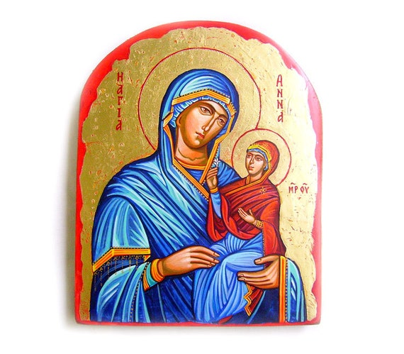 Saint Anna with Mary as a Child handpainted icon, Byzantine style, 6x8 inches original, MADE TO ORDER